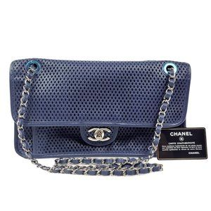 NEW Chanel Navy Blue Perforated Small Flap Bag